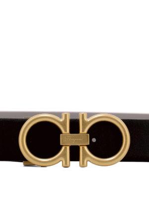 SALVATORE FERRAGAMO: cinture online - Cintura reversibile nera e grigia in pelle