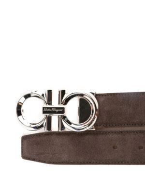 SALVATORE FERRAGAMO: cinture online - Cintura Gancini in camoscio marrone
