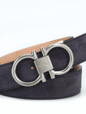 SALVATORE FERRAGAMO: cinture online - Cintura in suede con fibbia argento Gancini
