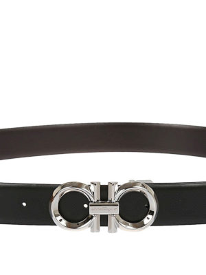 SALVATORE FERRAGAMO: cinture online - Cintura in pelle reversibile Gancini