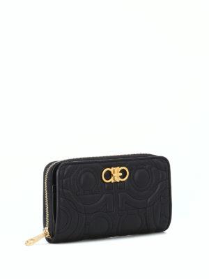 SALVATORE FERRAGAMO: pochette online - Pochette portafoglio Gancini nera