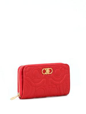 SALVATORE FERRAGAMO: pochette online - Pochette portafoglio Gancini rossa