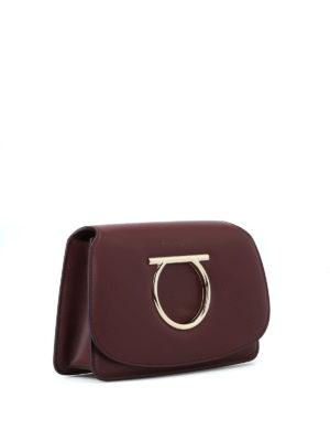 SALVATORE FERRAGAMO: pochette online - Mini borsa Gancini in pelle color vinaccia