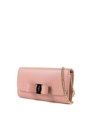 SALVATORE FERRAGAMO: pochette online - Clutch portafoglio Vara Bow rosa