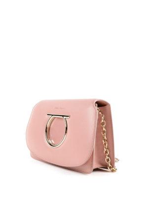 SALVATORE FERRAGAMO: borse a tracolla online - Mini borsa Gancini in pelle rosa