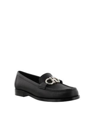 SALVATORE FERRAGAMO: Mocassini e slippers online - Mocassini Gancini neri in pelle