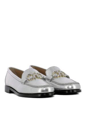 SALVATORE FERRAGAMO: Mocassini e slippers online - Mocassini Rolo argento con Gancini