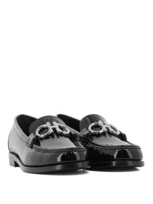 SALVATORE FERRAGAMO: Mocassini e slippers online - Mocassini Rolo in vernice con Gancini