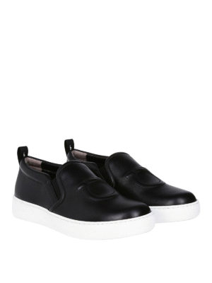 SALVATORE FERRAGAMO: sneakers online - Slip-on Gancini in pelle nera