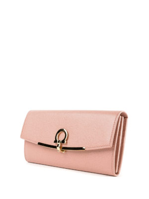 SALVATORE FERRAGAMO: portafogli online - Portafoglio in pelle rosa con clip Gancini