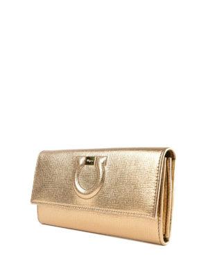 SALVATORE FERRAGAMO: portafogli online - Portafoglio Gancini in pelle oro