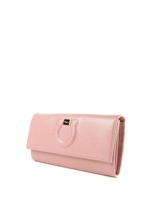 SALVATORE FERRAGAMO: portafogli online - Portafoglio Gancini in pelle rosa