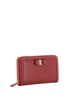 SALVATORE FERRAGAMO: portafogli online - Portafoglio rosso in pelle con fiocco Vara