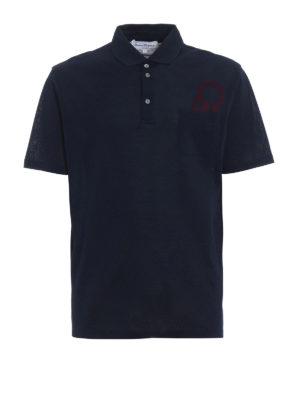 Salvatore Ferragamo: polo shirts - Contrasting logo patch blue polo