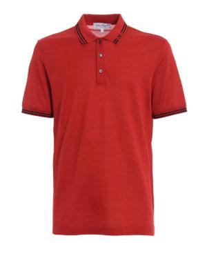 Salvatore Ferragamo: polo shirts - Embroidered logo collar red polo