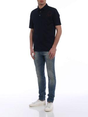 Salvatore Ferragamo: polo shirts online - Contrasting logo patch blue polo