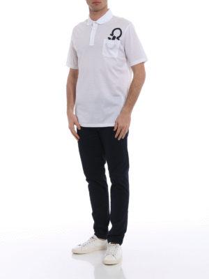 Salvatore Ferragamo: polo shirts online - Contrasting logo patch white polo