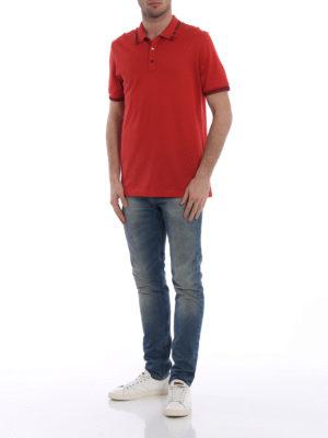 Salvatore Ferragamo: polo shirts online - Embroidered logo collar red polo