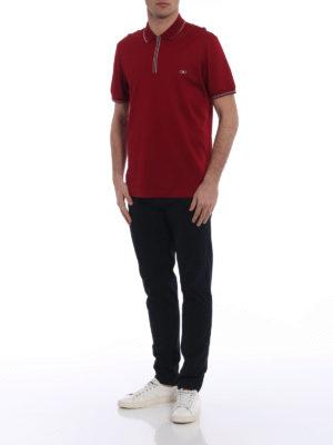 Salvatore Ferragamo: polo shirts online - Signature red zipped polo shirt