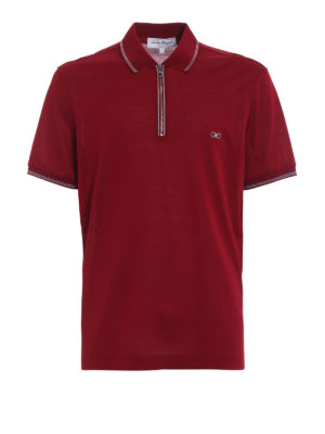Salvatore Ferragamo: polo shirts - Signature red zipped polo shirt