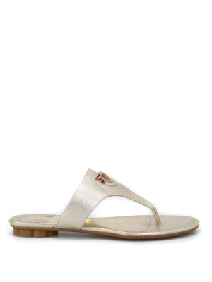 Salvatore Ferragamo: sandals - Enfola leather thong sandals