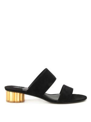 Salvatore Ferragamo: sandals - Flower heel Belluno suede sandals