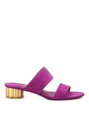 Salvatore Ferragamo: sandals - Flower heel Belluno suede sandals