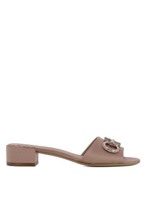 Salvatore Ferragamo: sandals - Lampio jewel Gancetti satin sandals