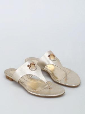 Salvatore Ferragamo: sandals online - Enfola leather thong sandals