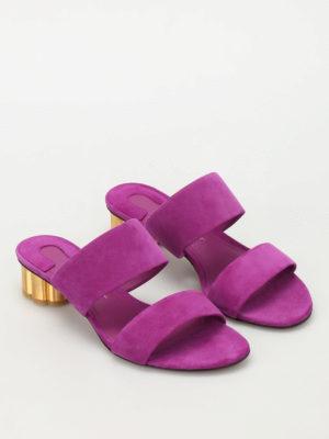 Salvatore Ferragamo: sandals online - Flower heel Belluno suede sandals