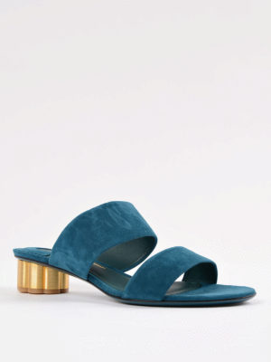Salvatore Ferragamo: sandals online - Flower heel Belluno suede sandals