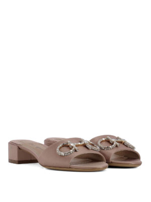 Salvatore Ferragamo: sandals online - Lampio jewel Gancetti satin sandals