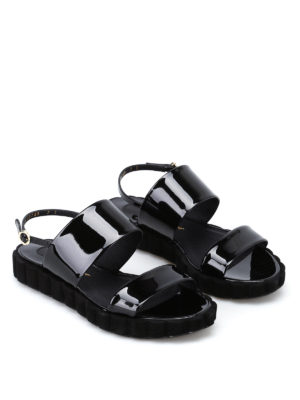 Salvatore Ferragamo: sandals online - Lusia patent slide sandals