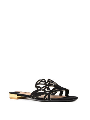 Salvatore Ferragamo: sandals online - Milazzo suede slide sandals