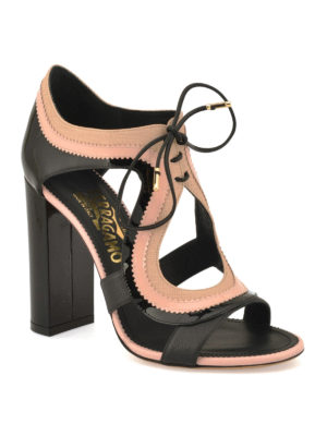 Salvatore Ferragamo: sandals online - Saffiano lace up sandals