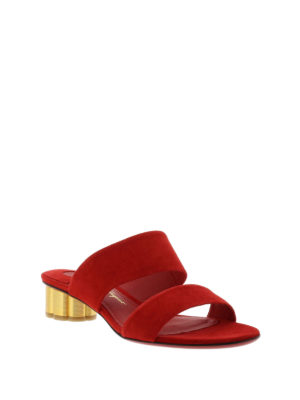 Salvatore Ferragamo: sandals online - Suede sandals with flower heel