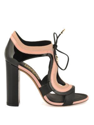 Salvatore Ferragamo: sandals - Saffiano lace up sandals