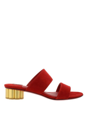Salvatore Ferragamo: sandals - Suede sandals with flower heel
