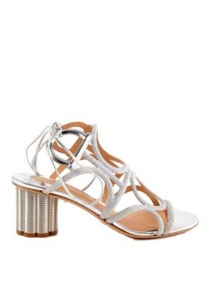 SALVATORE FERRAGAMO: sandali - Sandali glitter Vinci 55 con design a gabbia