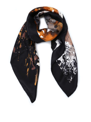 Salvatore Ferragamo: scarves - Artistic feline print silk scarf