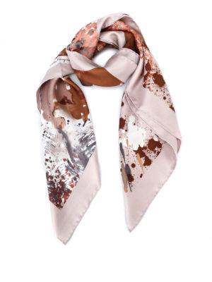 Salvatore Ferragamo: scarves - Artistic feline printed silk scarf