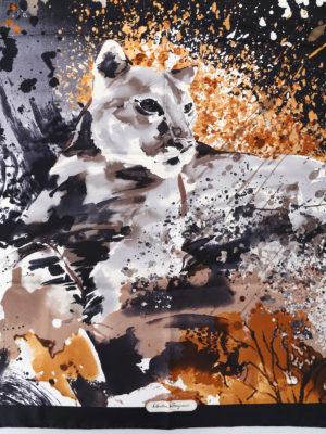 Salvatore Ferragamo: scarves online - Artistic feline print silk scarf