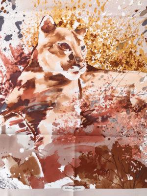 Salvatore Ferragamo: scarves online - Artistic feline printed silk scarf