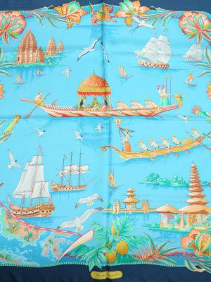 Salvatore Ferragamo: scarves online - Sea voyage silk foulard
