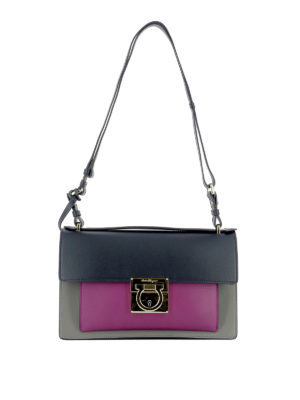Salvatore Ferragamo: shoulder bags - Aileen colour block shoulder bag