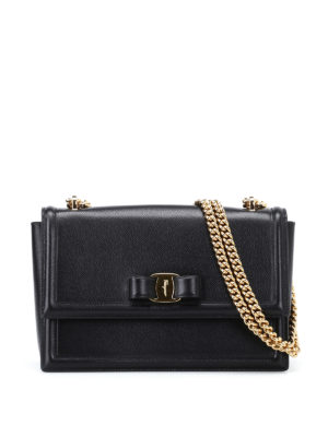 Salvatore Ferragamo: shoulder bags - Ginny black leather bag