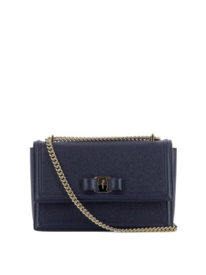 Salvatore Ferragamo: shoulder bags - Ginny blue leather bag