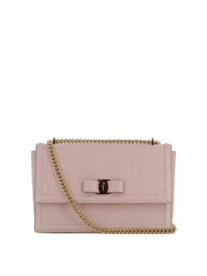 Salvatore Ferragamo: shoulder bags - Ginny light pink leather bag