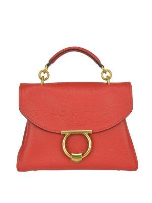 SALVATORE FERRAGAMO: borse a spalla - Borsa in pelle rossa Margot