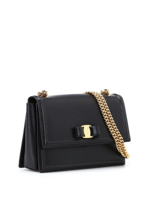Salvatore Ferragamo: shoulder bags online - Ginny black leather bag